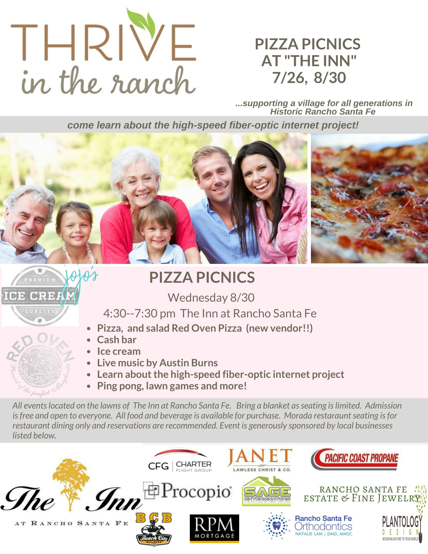 August 30 Thrive in the Ranch Pizza Picnic in the Park